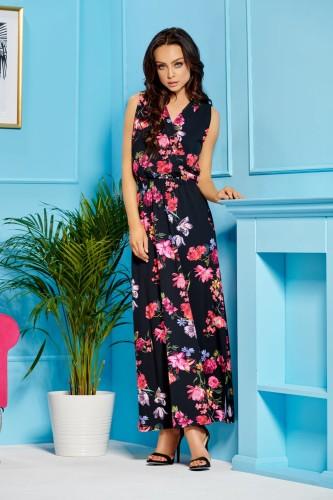 7b2af16d934 Długa sukienka maxi czarna kwiaty Lemoniade